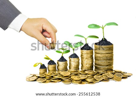 Hands of businessman giving coins to trees growing on coins in germination sequence - Business with csr practice - stock photo
