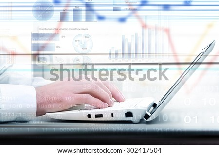Hands of businessman running with fingers on laptop keyboard - stock photo