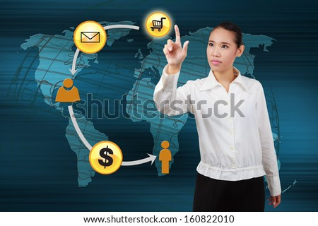Hands of businessman touching a virtual screen of the process online transactions. Concept of online transactions on the internet in business.