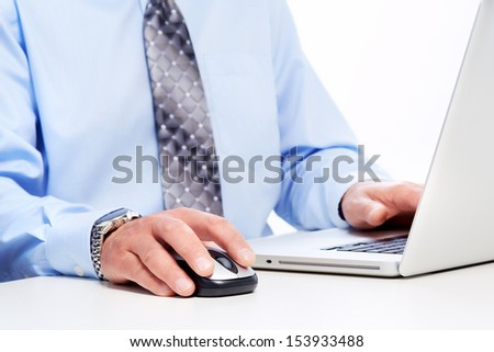 Hands of businessman with laptop. Technology and internet. - stock photo