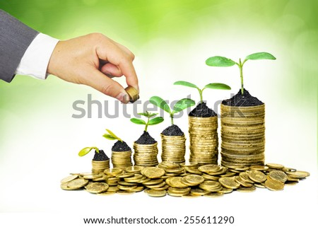 Hands of businessmen giving coins to trees growing on coins - Business growth with csr practice - stock photo