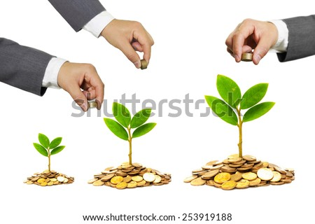 hands of businessmen giving coins to trees growing on golden coins - Business growth and wealth with csr concern - stock photo