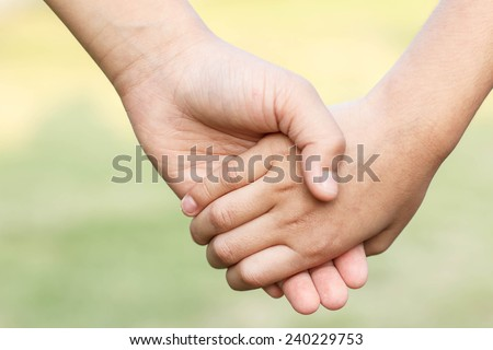 hands of children friends, summer nature outdoor