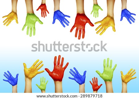 hands of different colors. concept studio shot - stock photo