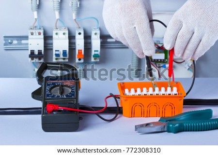 Hands Electrician Tester Distribution Board Electric Stock Photo ...