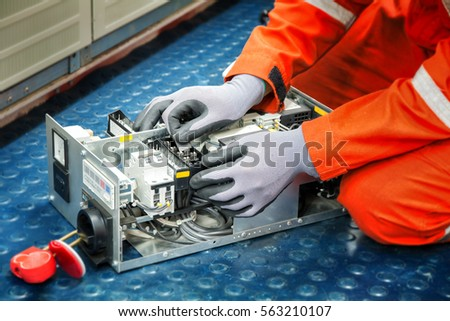fuseboard stock photos royalty images vectors shutterstock hands of electricianduring clean up switching electric actuator equipment in fuse box