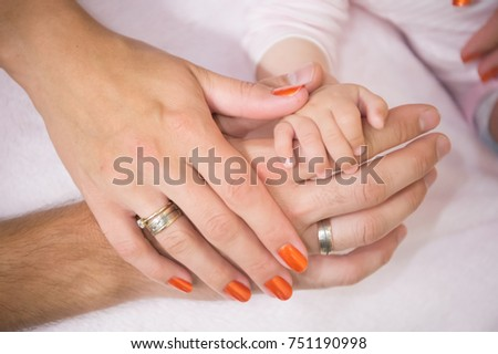 Hands of family together. Love, unity, support, protection, harmony concept