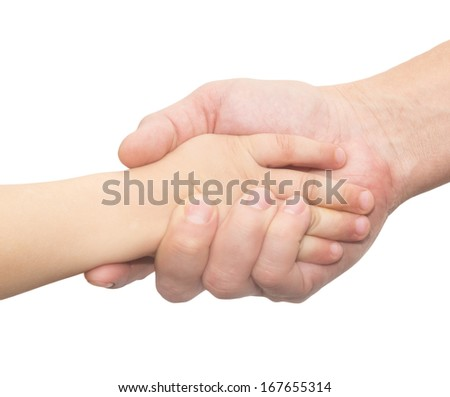 hands of father and son on a white background - stock photo