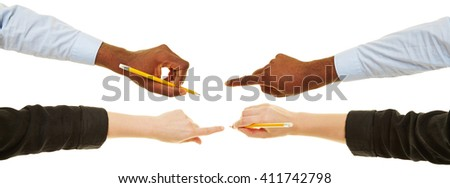 Hands of man and woman writing with pen and pencil - stock photo