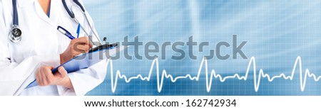 Hands of medical doctor. Healthcare blue background.