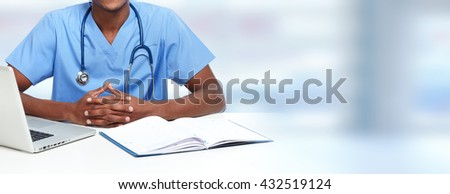 Hands of medical doctor man. - stock photo