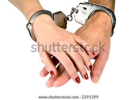 Hands of men and women in handcuffs, isolated on white