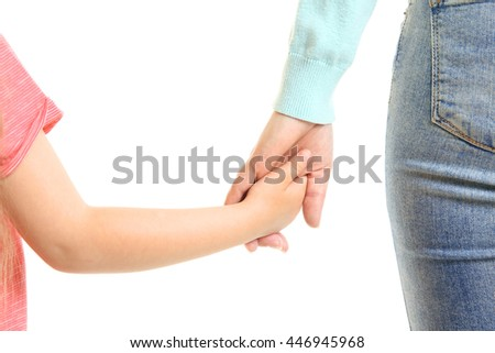 Hands of mother and child isolated on white