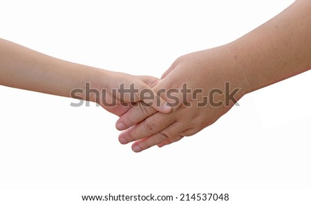 Hands of mother and daughter holding isolate on white background.