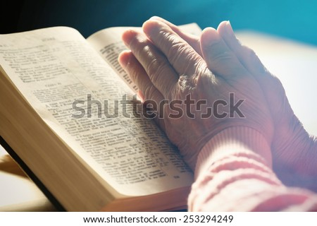 Hands Old Woman Bible On Table Stock Photo Royalty Free 253294249