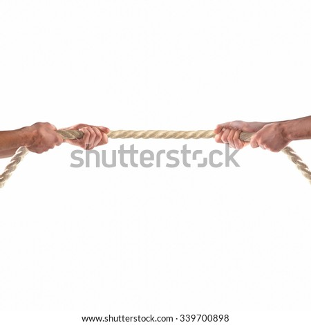 Hands of people pulling the rope on white background.  Competition concept - stock photo