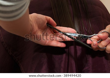 Hands of professional hair stylist, hair cut