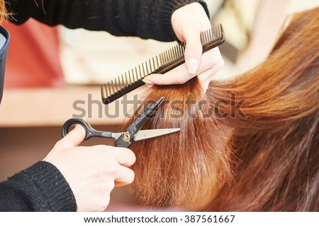 Hands of professional hair stylist with scissors and comb