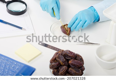 Hands of quality control expert cutting an date in half for analysis in laboratory - stock photo