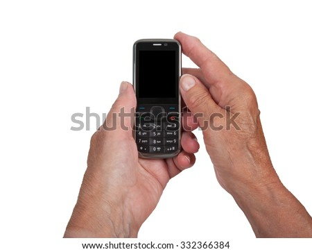 Hands of senior womanwith a mobile phone, isolated on white - stock photo
