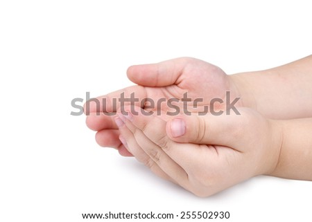hands of the child isolated on the white background.