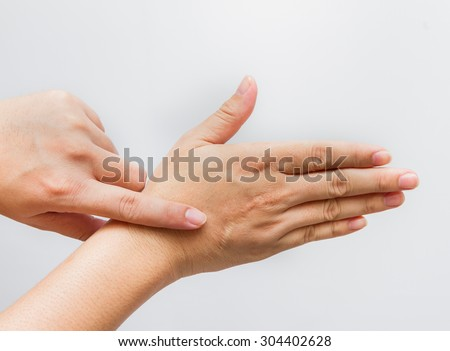 Hands of the man with scar isolated on white,Scars caused by accidents,The scars on his hands,scar hand on white background,scar content,scar of healthcare. - stock photo