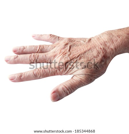 hands of the old woman on a white background