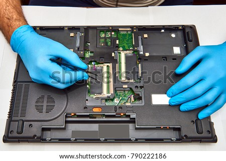 Hands Technician Repairing Computer Professional Laptop Stock Photo ...