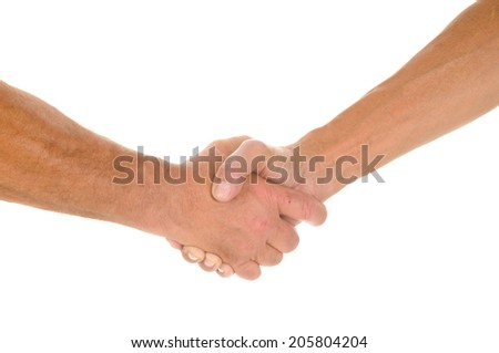 Hands of two men shaking, isolated on white