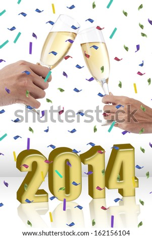 Hands of two people toasting wine glasses celebrating new year - stock photo