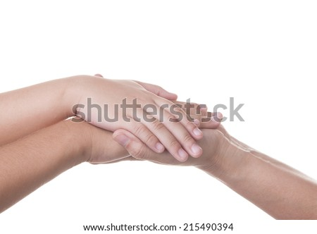 Hands of  woman holding the hand of a her son. isolate white background