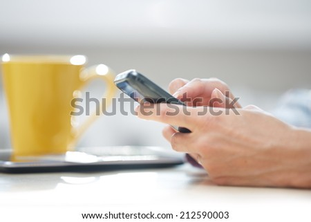 Hands of woman sending SMS via smartphone at lunch