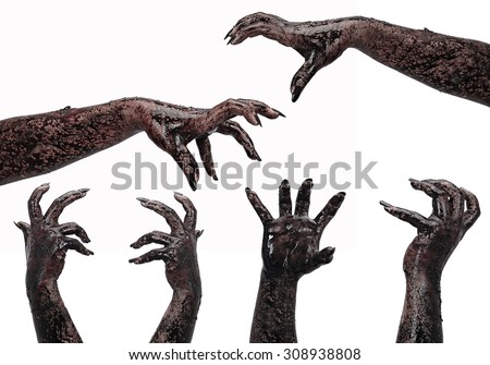 hands on a white background, zombie, demon, maniac, isolated on terror,halloween theme - stock photo