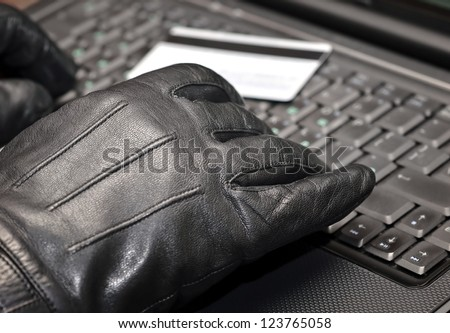 Hands on computer keyboard close up - stock photo