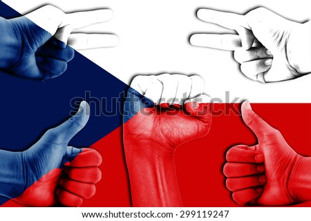 hands on Czech flag background