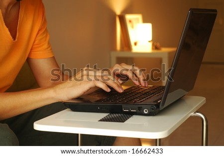 Hands On Laptop - stock photo