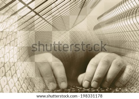Hands on the keyboard - abstract computer background in sepia. - stock photo