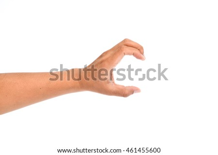 Hands on white background