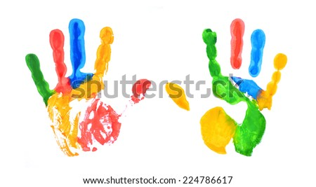 Hands painted, stamped on paper, isolated on white