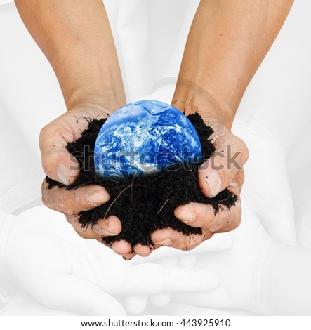 Hands palm up take care of blue global earth over monotone supporting hands in Think Earth concept for education poster advertising magazine or design Elements of this image furnished by NASA - stock photo