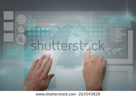 Hands pointing and presenting against digitally generated black server tower - stock photo