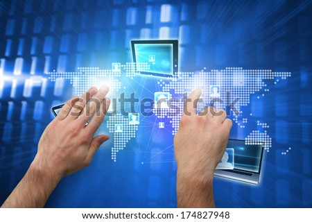 Hands pointing and presenting against glowing squares on blue background