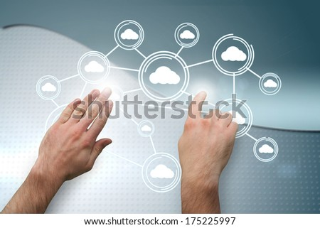 Hands pointing and presenting against wave on futuristic background