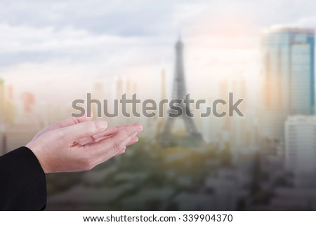 hands pray for innocent dead people from victim terror bomb shot in paris 13 November 2015