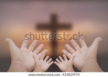 Hands prayer cross - stock photo