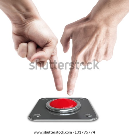 hands press on big Red button isolated on white background - stock photo