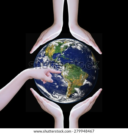 Hands protect earth ,Elements of this image furnished by NASA