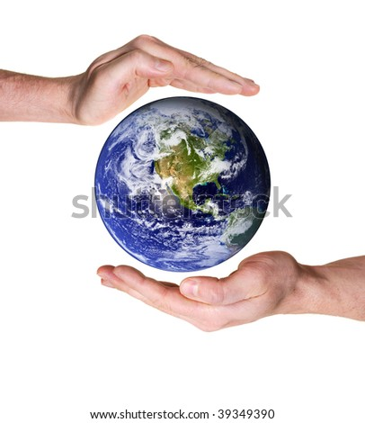 hands protecting planet earth isolated on white background. Some components of this montage are provided courtesy of NASA, and can be found at http://visibleearth.nasa.gov