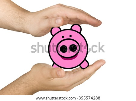 hands protecting savings in illustrated piggybank isolated