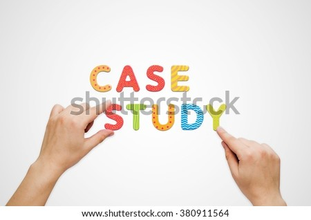 Hands put the words Case Study with magnetic letters. Colorful alphabet kit - stock photo